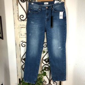 Nicole Miller distressed high rise straight jeans